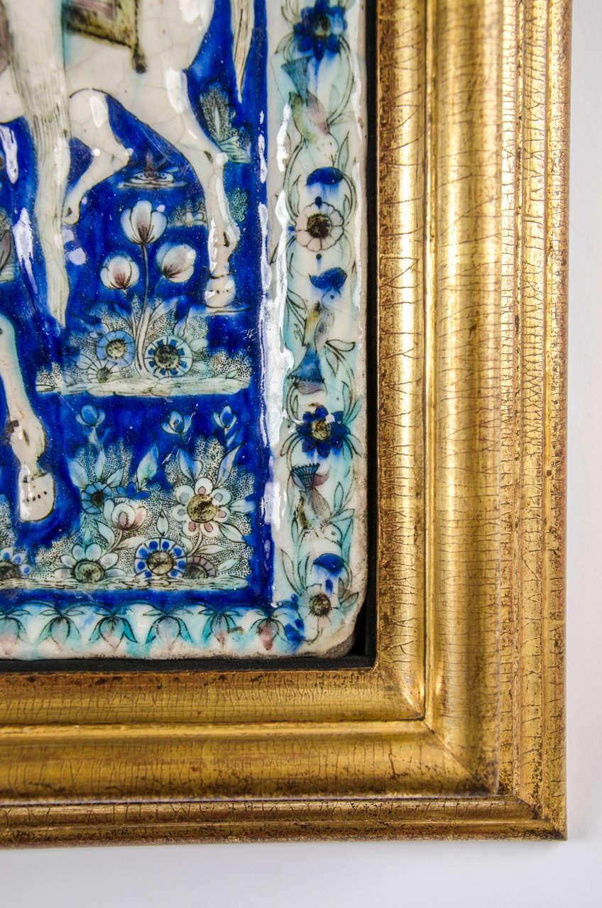 Porcelain Large Persian Qajar Tile Picture Plaque Depicting Khusrau Visiting Shirin For Sale