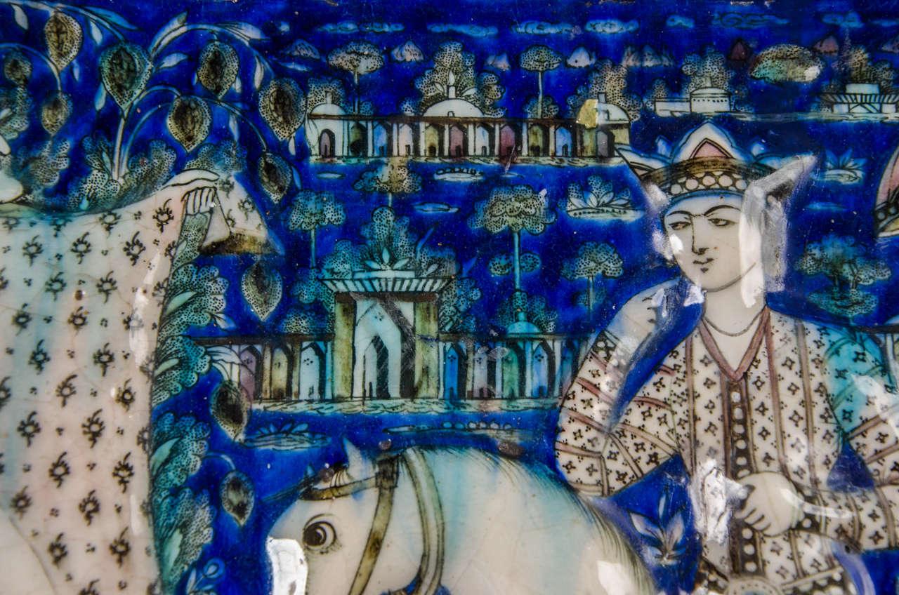 Large Persian Qajar Tile Picture Plaque Depicting Khusrau Visiting Shirin For Sale 2