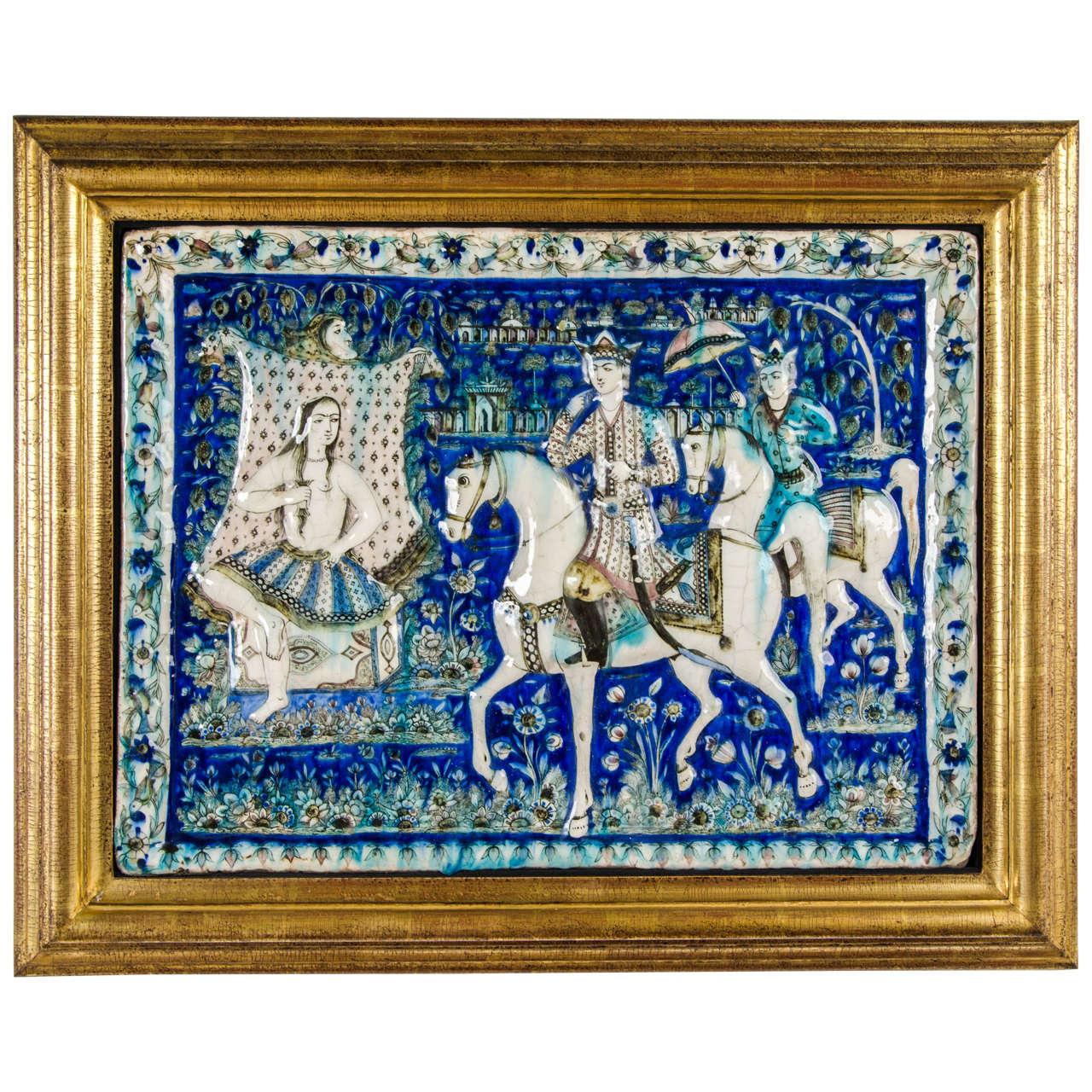 Large Persian Qajar Tile Picture Plaque Depicting Khusrau Visiting Shirin For Sale