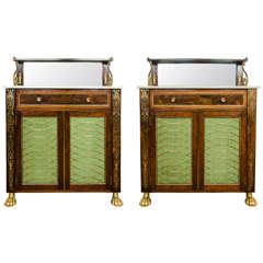 Pair of Regency Rosewood and Brass Inlaid Chiffoniers, circa 1812