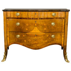 George III Marquetry Serpentine Commode, circa 1775
