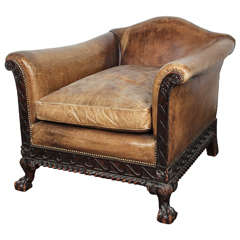 Leather Clawfoot and Rolled-arm Club Chair