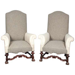 Pair of Queen Anne Style Walnut Upholstered Armchairs
