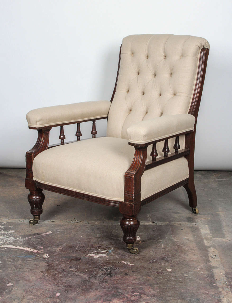 American Pair of Victorian Mahogany and Button-Tufted Armchairs For Sale