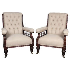 Pair of Victorian Mahogany and Button-Tufted Armchairs