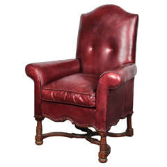 19th Century French Regence Style Leather Armchair