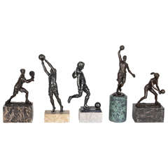 Set of Five Bronze Trophies on Marble Bases