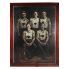Untitled Group of Athletes by Mark Beard, Oil on Canvas