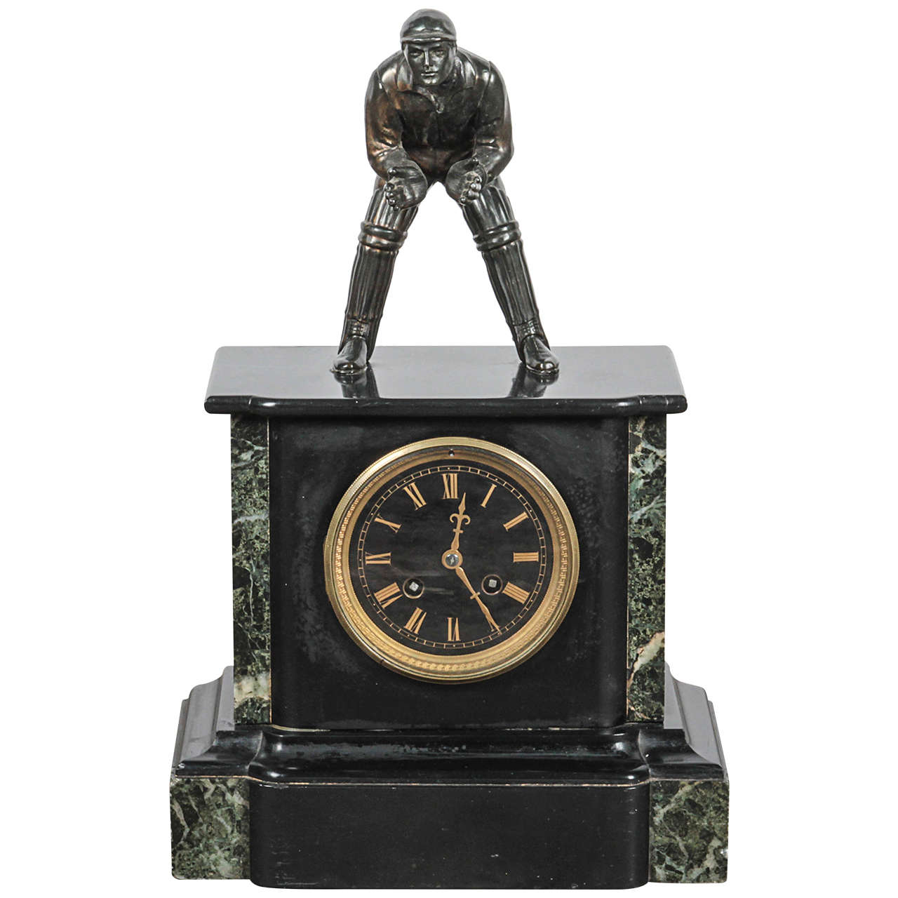 Bronze Cricket Player on a Marble Base with Brass Clock