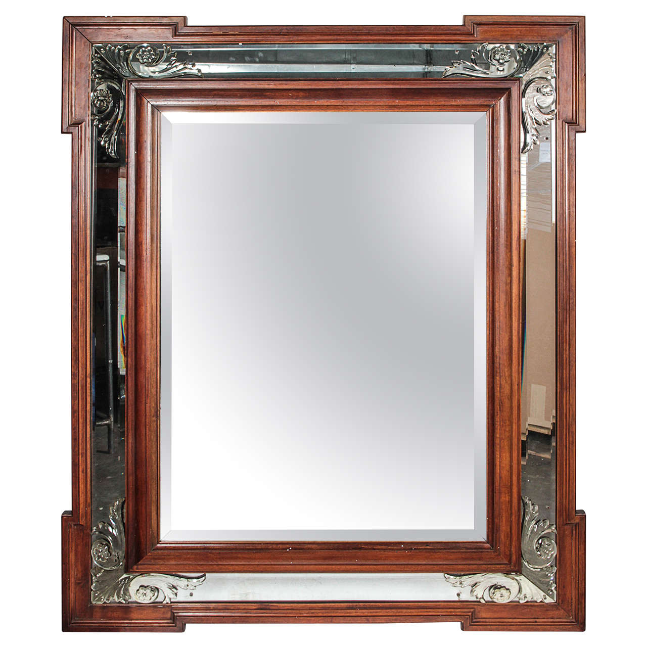 Art Deco Decorative Beveled Mirror For Sale At 1stdibs