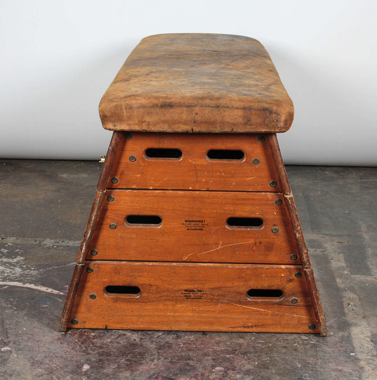 Vintage wood and leather gym vault horse for sale at stdibs