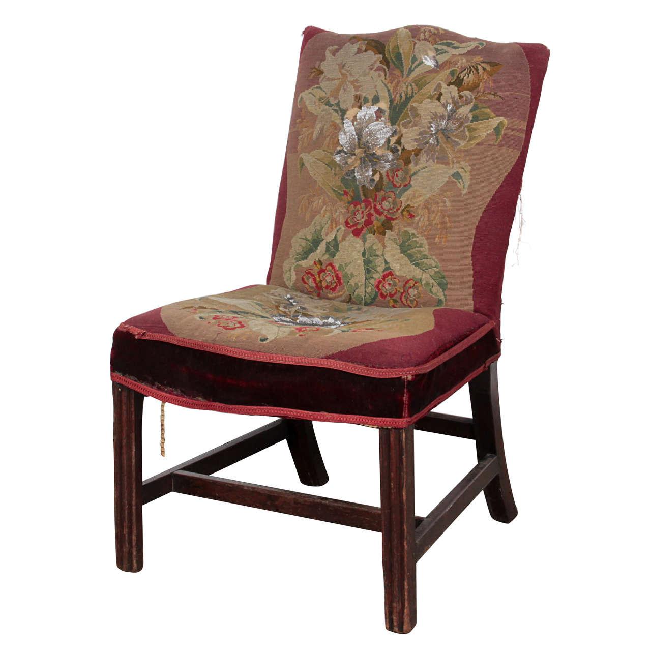 19th Century Handmade Needlepoint Side Chair