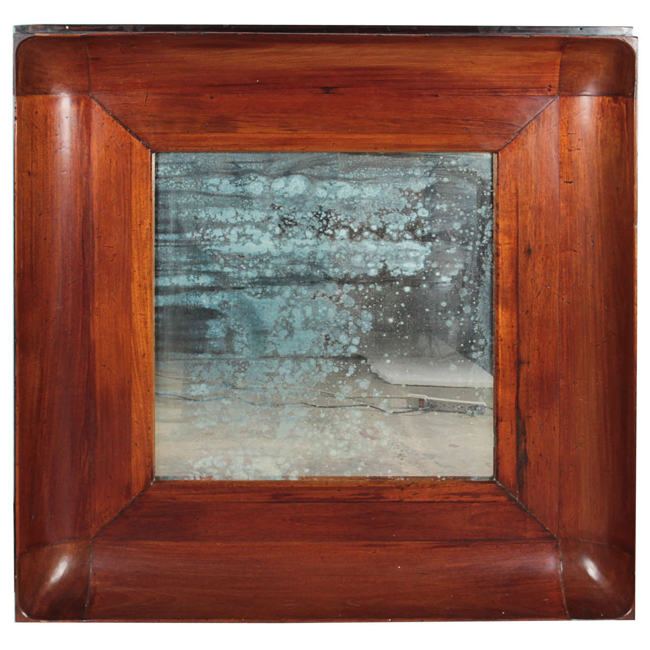 Wooden Concave Framed Patina Mirror