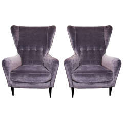 Pair of 1960s Italian Wing Chairs Paolo Buffa