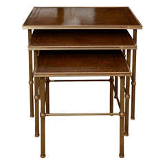 Nest of Three 1920's Bagues-Style Brass Tables