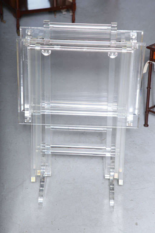 Vintage Set Of Two Folding Lucite Tables On A Substantial Stand.