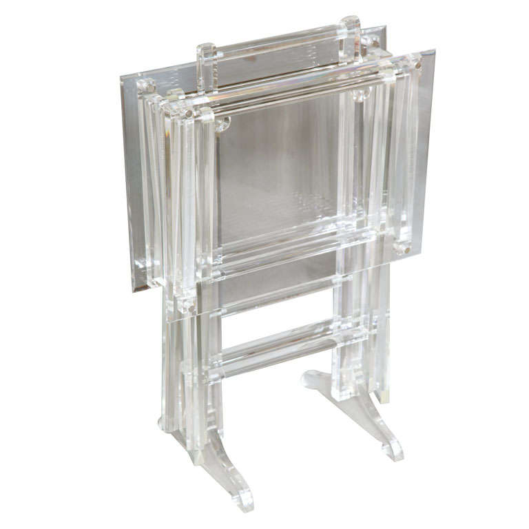 Fabulous Set Of Lucite Tray Tables On Stand At 1stdibs