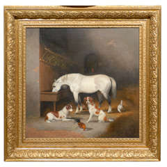 English Painting of Horse and Dogs