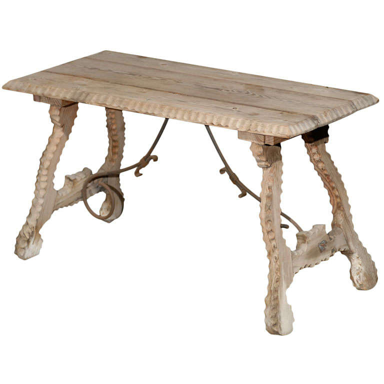 Spanish Baroque Style Bleached Wood Coffee Table with Lyre Legs