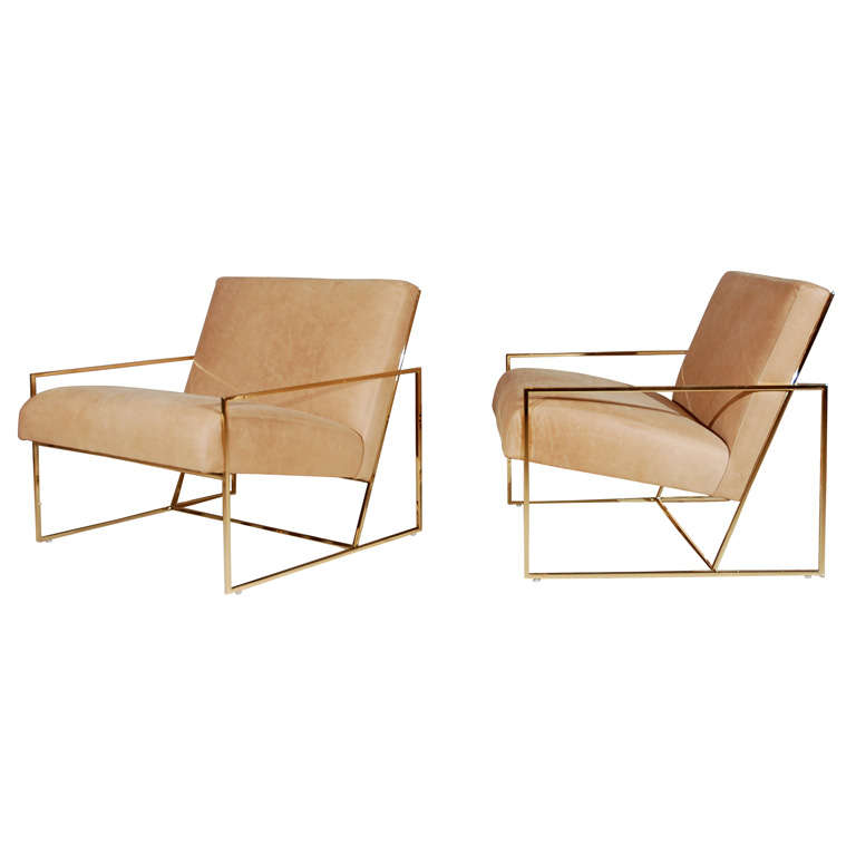 Brass Thin-Frame Chairs 1