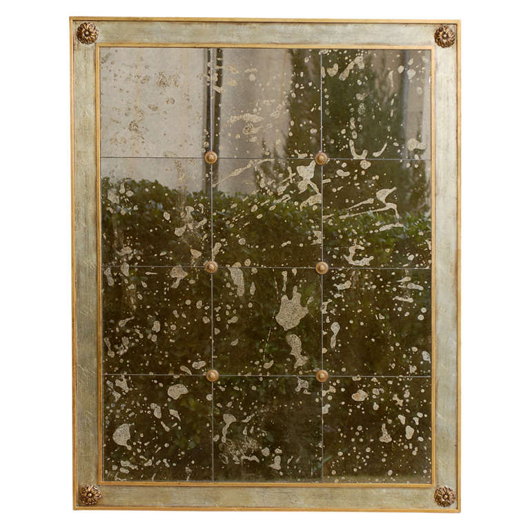 20thc Large Distressed Mirror With Rosette Detail For