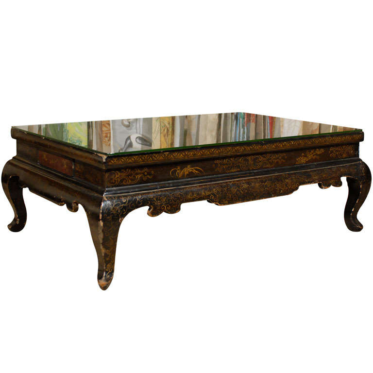 Chinese Style Coffee Table In Black Lacquer With Gilt Decoration At 1stdibs