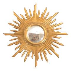 1920's French Giltwood Sunburst Mirror