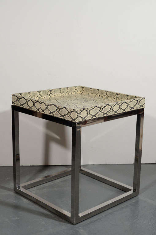 Modernist python cubed side table in the manner of karl for Table in python