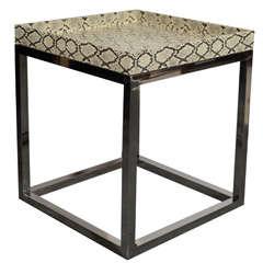 Modernist Python Cubed Side Table in the Manner of Karl Springer