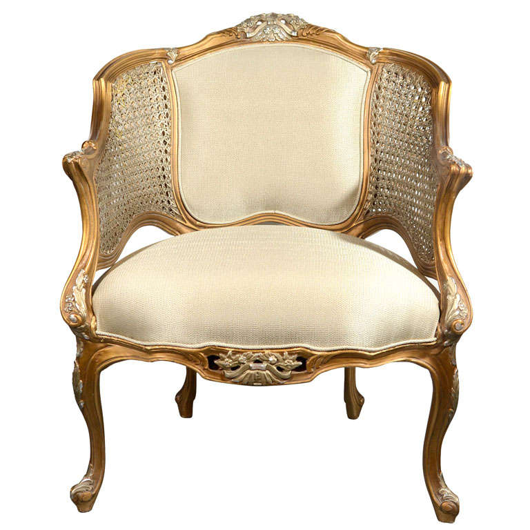 Hollywood Regency Louis XV Style Gilt Bergere Chair 1