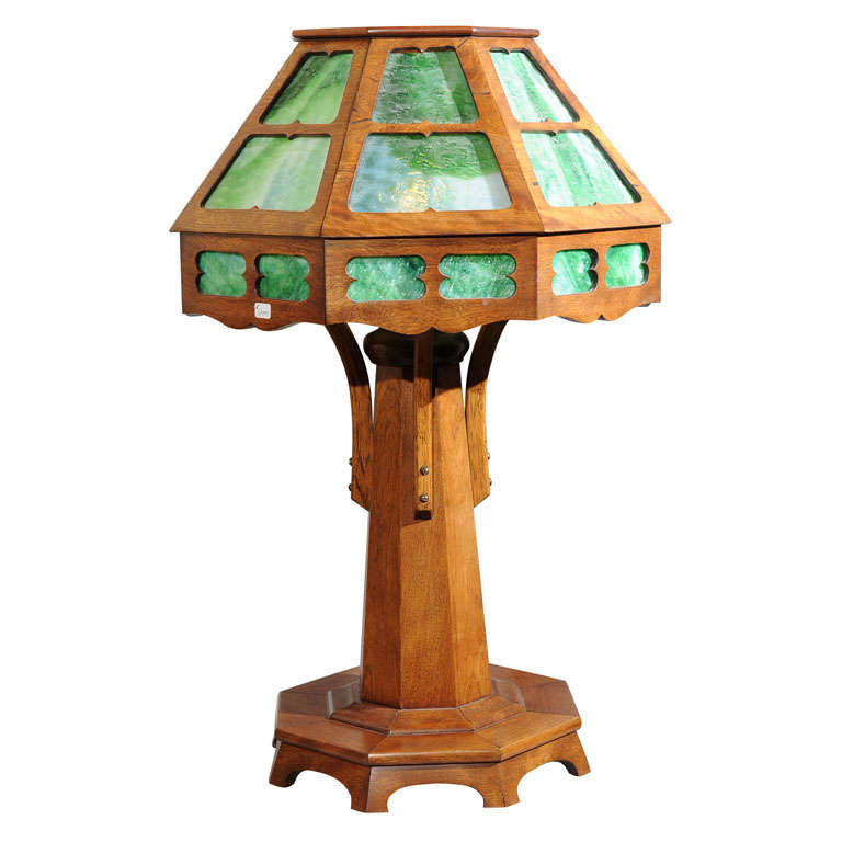 Arts And Crafts Wood Table Lamp At 1stdibs