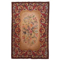 Early American Hooked Floral Rug, 1880's