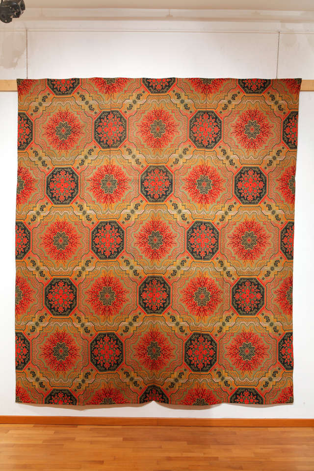 A rare flat woven ingrain carpet, decorated by an all-over trellis pattern reminiscent of early Bessarabia's. It is reversible, as the back side is on a black background. A similar ingrain carpet is in the Henry Ford Museum and Greenfield Village