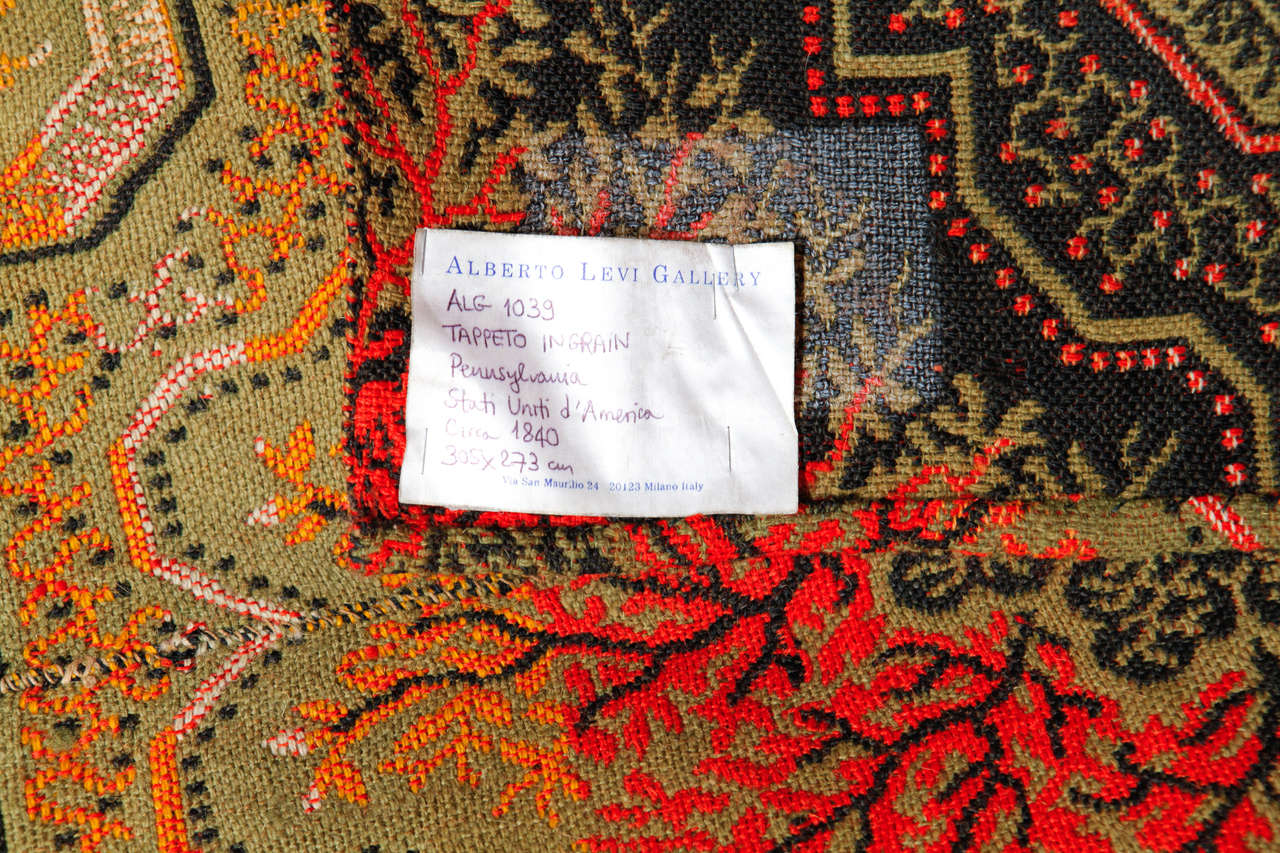 Early American Ingrain Rug, 1840's In Excellent Condition For Sale In Milan, IT