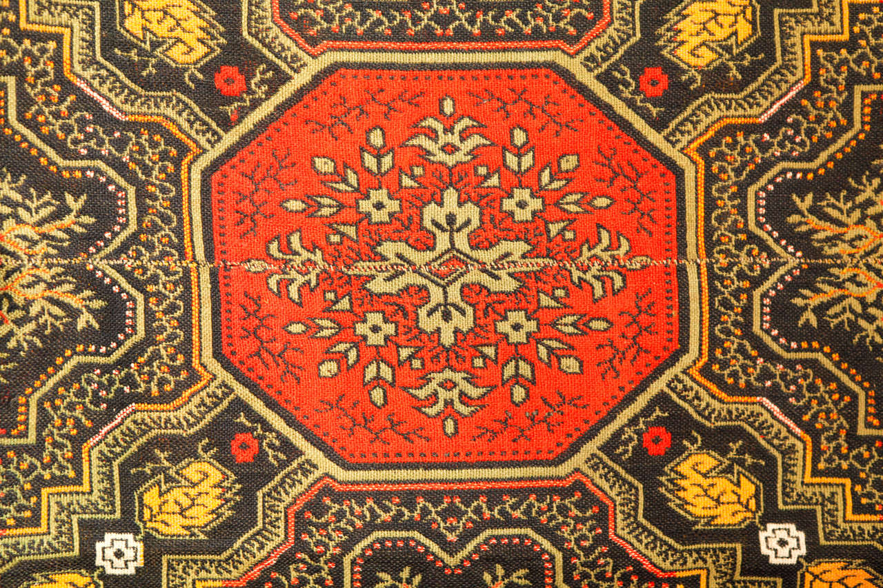 19th Century Early American Ingrain Rug, 1840's For Sale