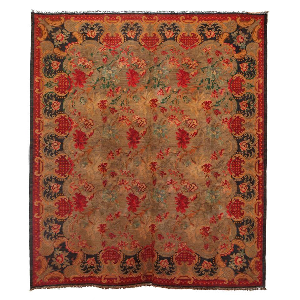 Square Bessarabian Kilim Wool Rug