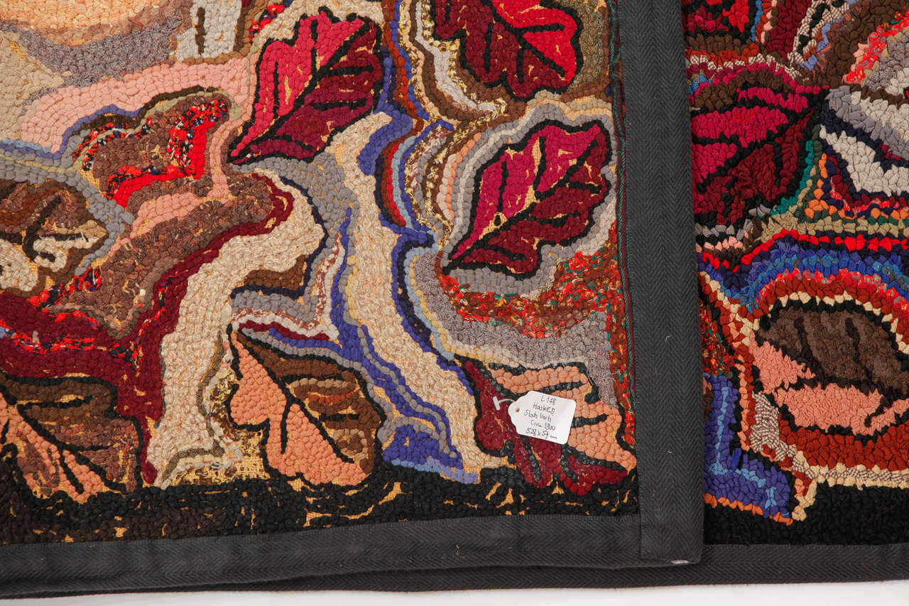 Rare American Hooked Runner Rug In Excellent Condition For Sale In Milan, IT