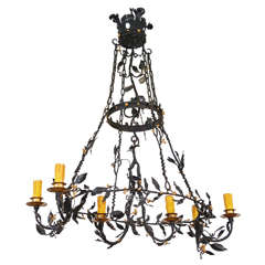 Painted Iron  Leaf And Vine Chandelier