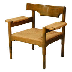 Beech And Caned Chair in the Style of Magistretti