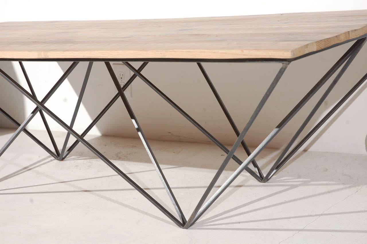 Geometric Metal And Wood Coffee Table At 1stdibs