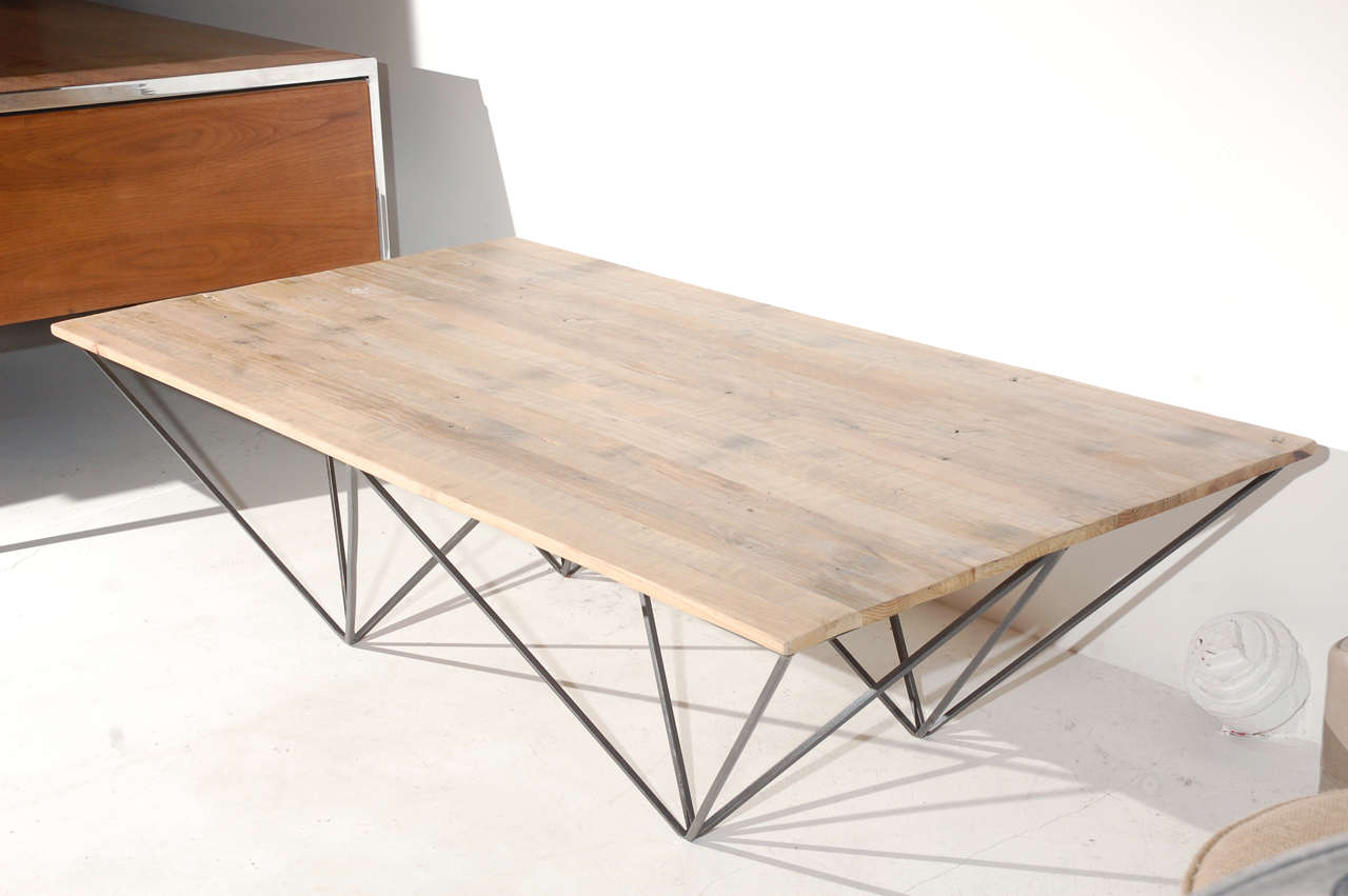 Geometric metal and wood coffee table at 1stdibs for Geometric coffee table