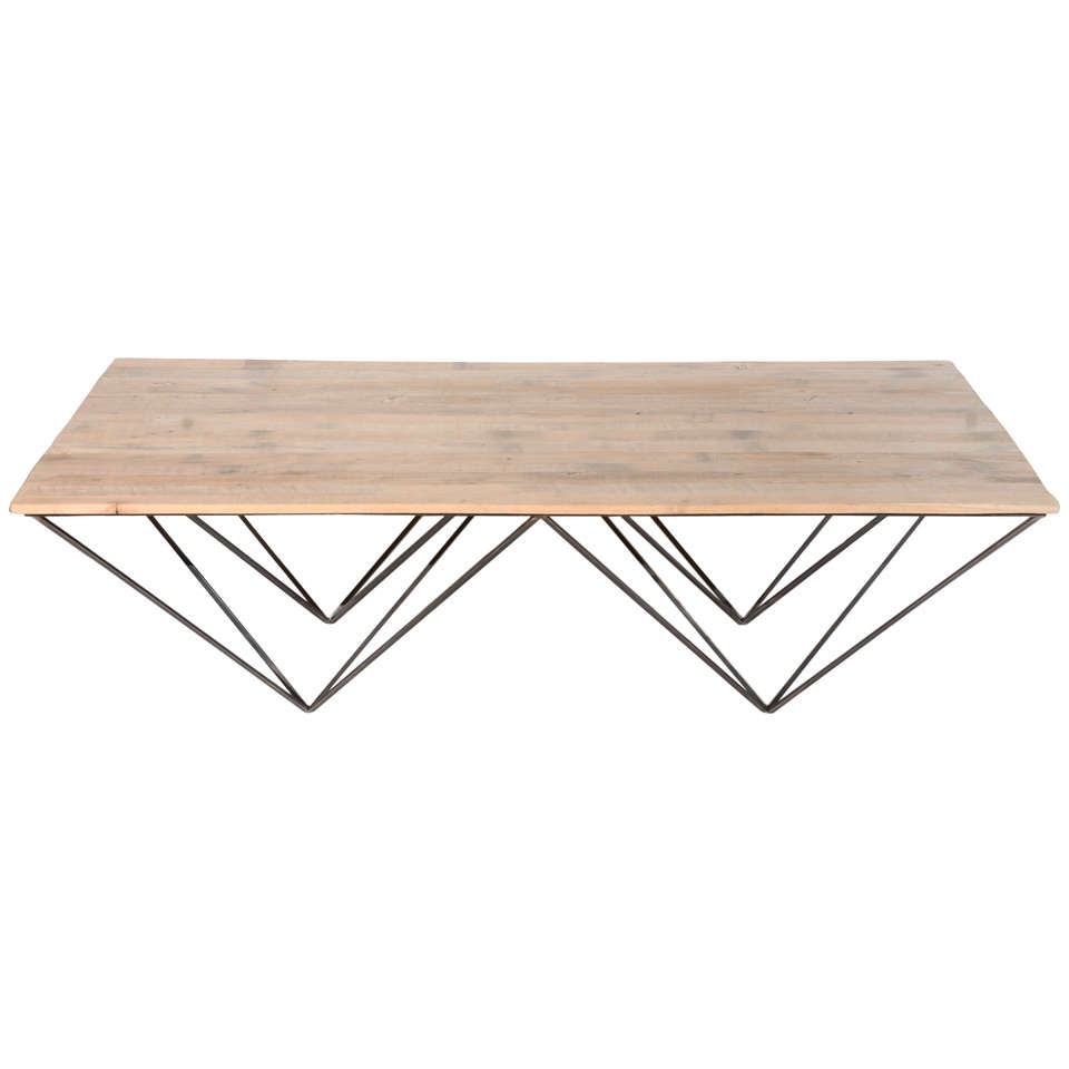 Geometric Metal And Wood Coffee Table At 1stdibs