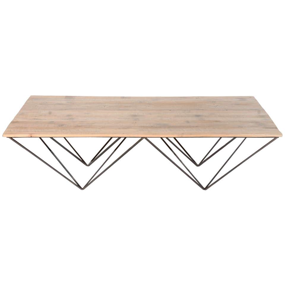 Geometric Metal And Wood Coffee Table
