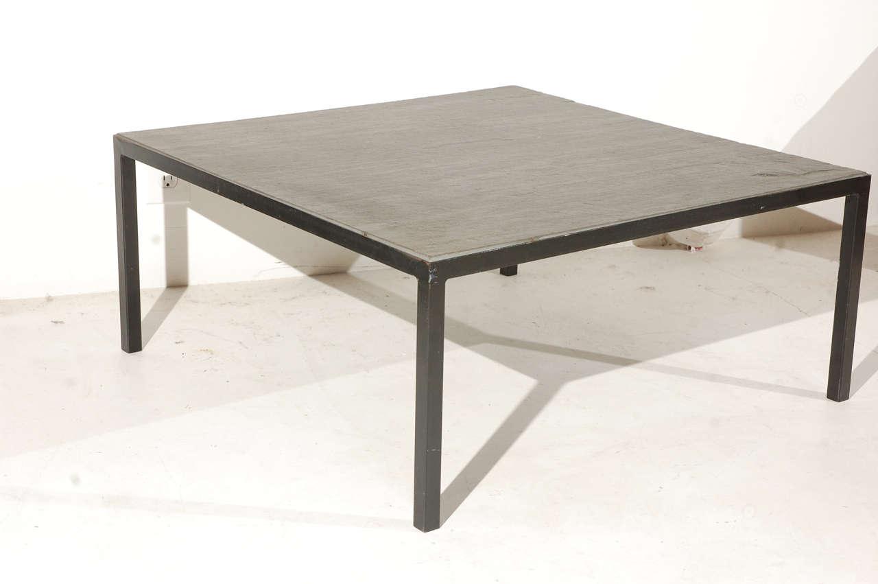 Stone and metal milo baughman style coffee table at 1stdibs for Metal and stone coffee table