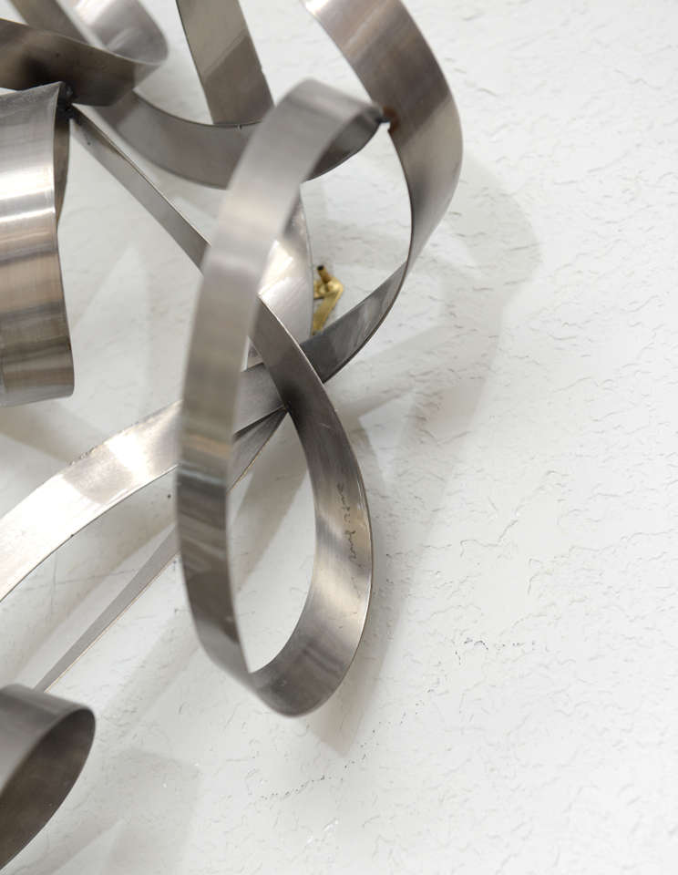 Wall Decorations With Ribbon : Steel ribbon wall sculpture at stdibs