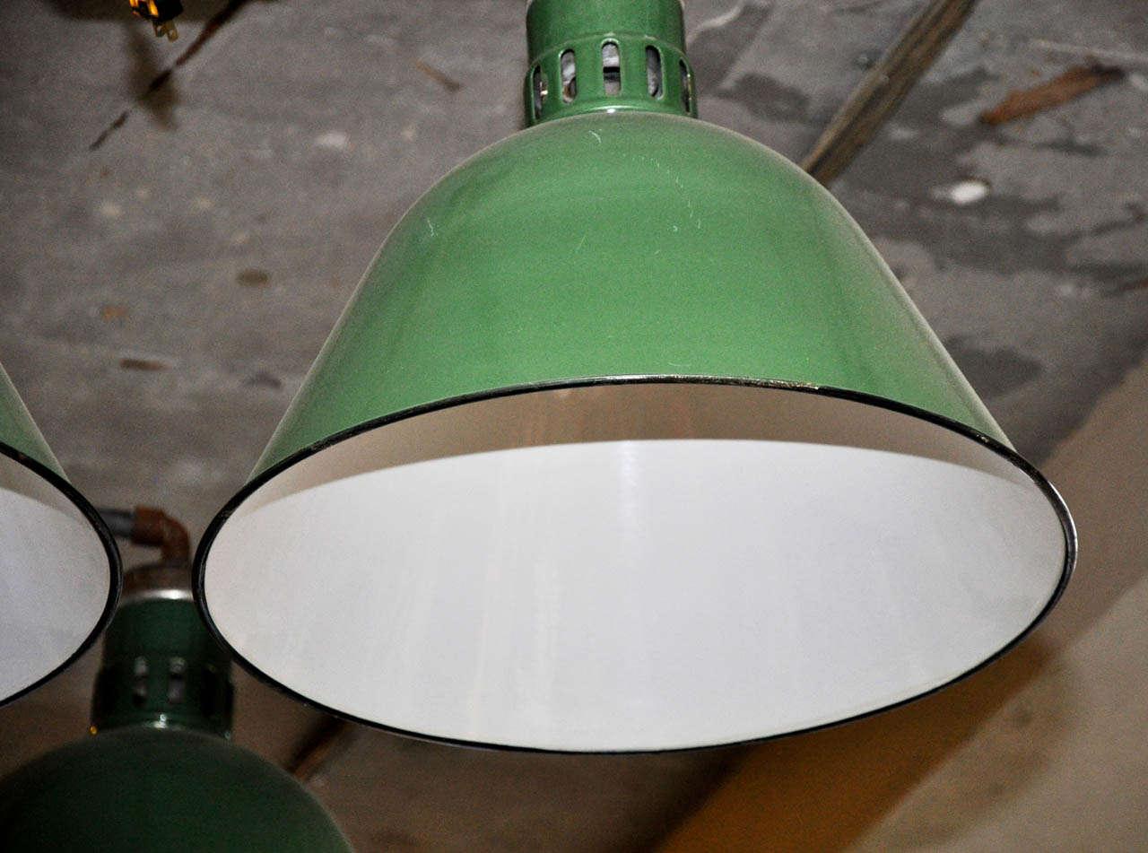 20th Century Double Pendant Industrial Light Fixture For Sale