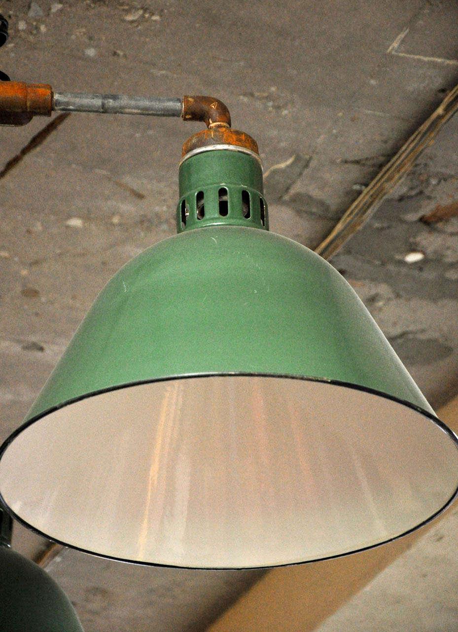 Enamel Double Pendant Industrial Light Fixture For Sale