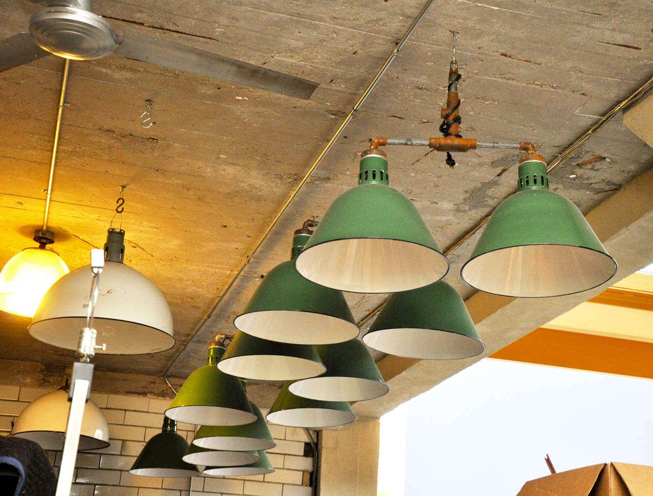 Double Pendant Industrial Light Fixture For Sale 2