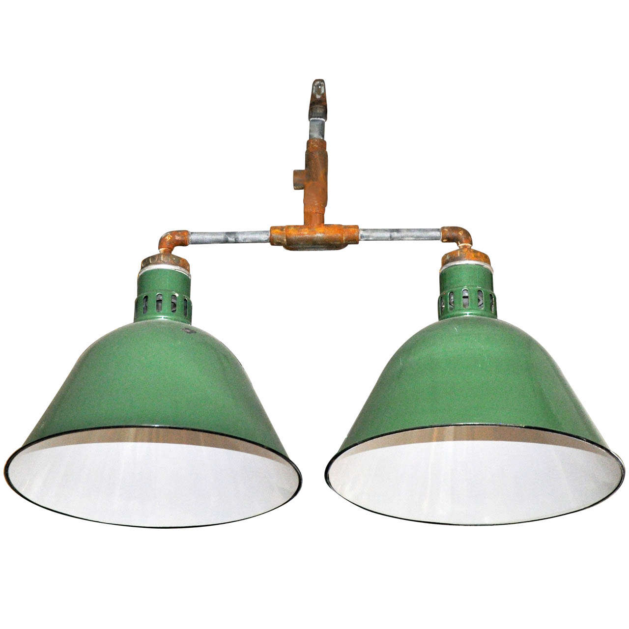 Double Pendant Industrial Light Fixture For Sale