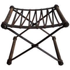 "Neoclassic ""Rough Luxe"" Iron and Wooden Stool"